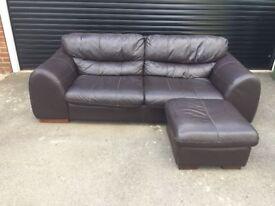 Large 3/4 Seater Genuine Leather Sofa & Pouffee