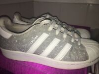Adidas superstars white and silver glitter effect