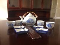 Chinese tea set for 4 with chop stick stands and chop sticks