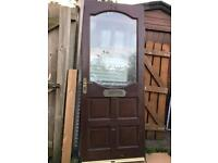 Quality Solid Mahogany Wood Frosted Glazed Front Exterior Door Landlord Rental Garage Builder Shed