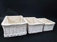 Set of 3 Wicker Storage Baskets (White)