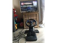 PS1 Console - 2 Controllers - V3 FX Steering Wheel, Pedals & Driver Game