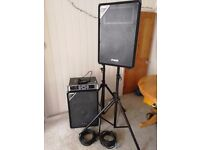 PA system, 2 x 250W speakers, 1600W power amplifier, 2 x stands, speakon cables