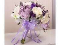 2 Brand New Bridal Bouquets for Sale- Ivory/ Purple / Lilac / Plum - brand new