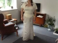 Wedding dress three piece Ivory satin and pearls
