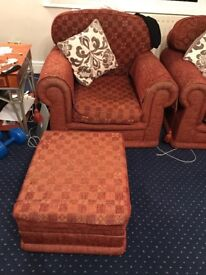 5years Old Versace Patterned Armchair with Foot Stool