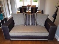 Modern grey 2 and 3 seater sofas with footstool in excellent condition