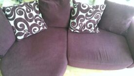 DFS Chaise sofa in plum chenille fabric immaculate