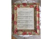 Unique large vintage style wall art music sheet