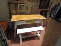 **REDUCED** NEW FARMHOUSE STYLE BESPOKE HAND MADE DINING/KITCHEN PLANK TOP TABLE+DRAWER & 2 BENCHES.