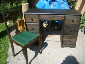 re-furbished makeup vanity with mirror and chairs