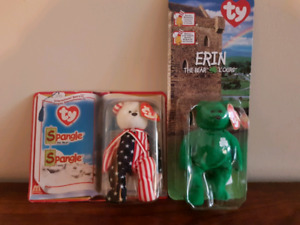 Beanie babies Erin the Bear and Spangle Sealed