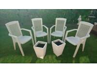4x cream outdoor garden chairs and plant pots