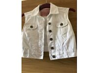 New Look white denim cut off jacket size 10
