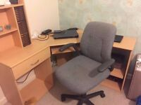 Corner office desk and office chair £30 ONO