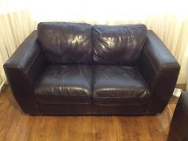 Leather dark brown sofa