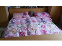 King Size Double Bed, mattresses and over bed table