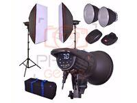 Studio Flash Lighting Kit - 800w 2x 400w Head- Softbox Strobe Photography Bowens