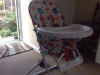 Fold away child's high chair