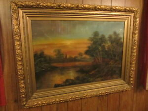 Large Antique Painting of a Sunset by Bryant in gold frame
