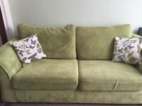 Three seat sofa bed with matching chair and storage foot stool