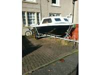 15ft cathedral hull boat on trailer with 40 hp pull start Mariner outboard