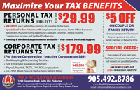 WHY PAY MORE ?CORPORATE TAX RETURN $179.99 FOR ACTIVE CORP.
