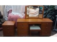 Dressing Table, Stool, Bedside Chest & Double Headboard, by Stag Furniture