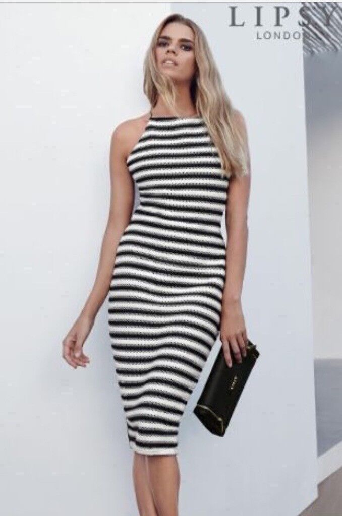 Lipsy dress Brand New With Tagsin Hull, East YorkshireGumtree - Brand new Lipsy dress never worn black and white stripes size 10