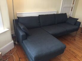 Designer corner sofa in Anthracite Grey (Left hand facing)