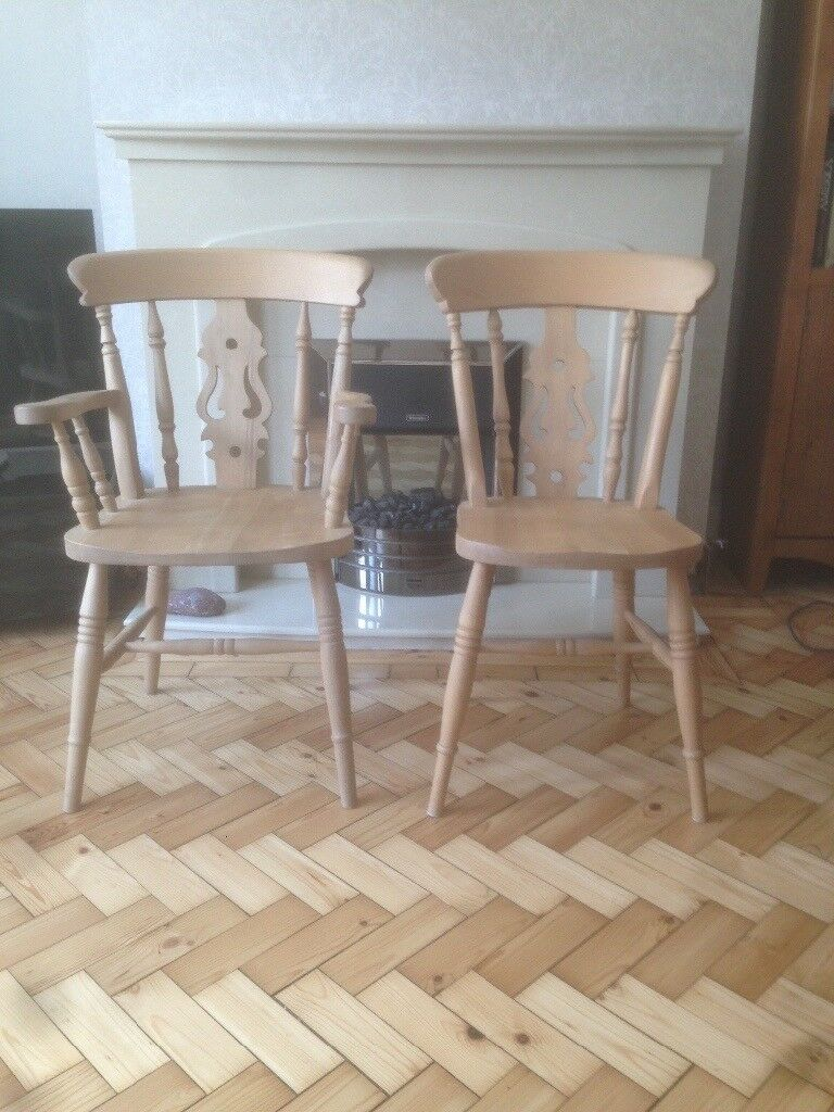 Six Beechwood Dining Chairs 2 Carvers Excellent Condition Recently Professionally Refinished