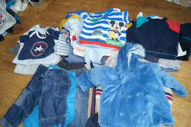 Large bundle of baby boy clothes size 6-9 months