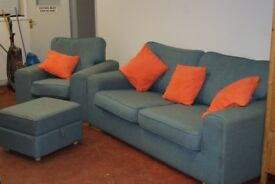 3 seat sofa, arm chair and storage footstool