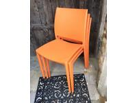 Siesta Maya Orange Stackable Dining/Garden Chairs x 3