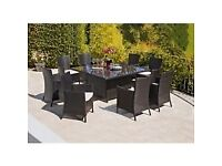 Glass top 8 seater Rattan effect square garden table