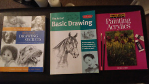 Variety of drawing and painting books