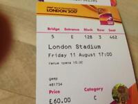 London IAAF tickets Friday 11th- £60 original price