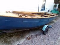 Enterprise Sailing Dinghy with spare mast road trailer and customized tent