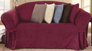 Sure Fit Soft Suede Loveseat Slipcover Burgundy, New