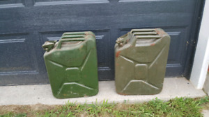 Vintage army style fuel cans