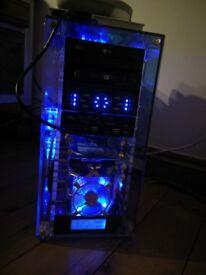 Gaming PC computer in plexiglass custom