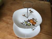 Midwinter 60s Two Tier Cake Stand 'Oranges and Lemons'.