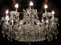 ABSOLUTELY STUNNING <3 FOOT WIDE CRYSTAL CHANDELIER