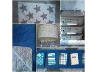 Blue Star Bedroom Bundle- Laura Ashley & Next -Paint, Wallpaper, Rug, Lampshade, Throw & Photo Frame