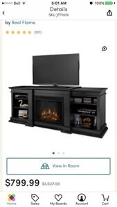 Electric Fireplace TV Stand, Black wood