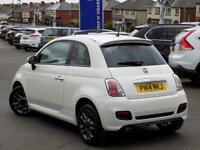 FIAT 500 1.2 S 3dr * Part Leather * *Half Leather Sports Ha (white) 2014