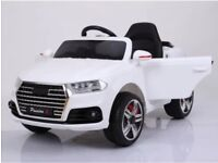 Audi Q7 In White Kids Ride-On Cars 12v Parental Remote Control Self Drive