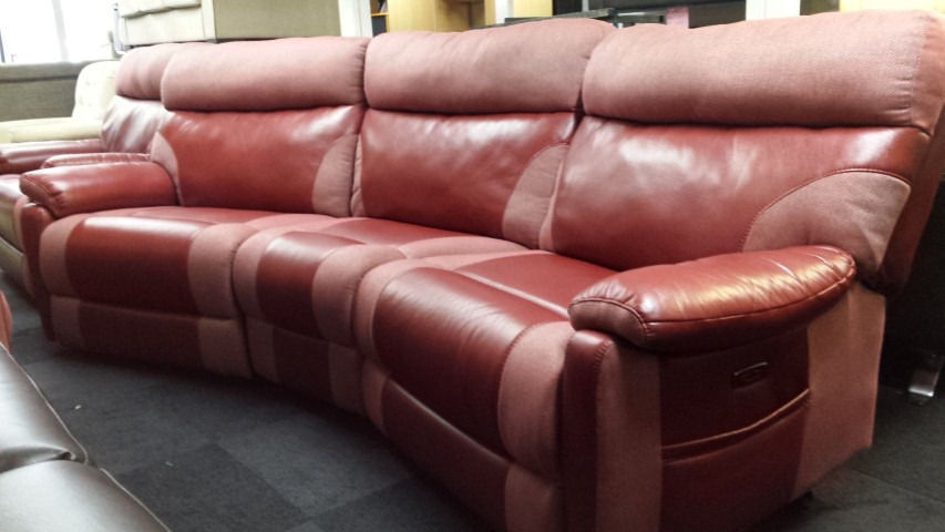 Ex-display SCS red fabric/endurance leather curved sofa electric ...