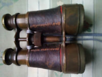 Vintage brass and leather binoculars ww1 era british army