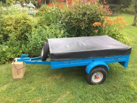 5ft x 3ft general purpose metal trailer complete with new spare wheel, cover and electrics.
